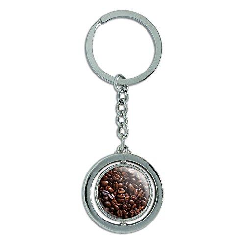 Preisvergleich Produktbild Kaffee Bohnen Spinning rund Metall Schlüsselanhänger Schlüsselanhänger Ring
