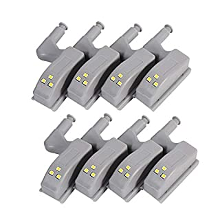 HONGCI 8 PCS Motion Sensor Light, Universal Cabinet Cupboard Hinge LED Light For Modern Kitchen Home Lamp, etc, (Blanc froid)