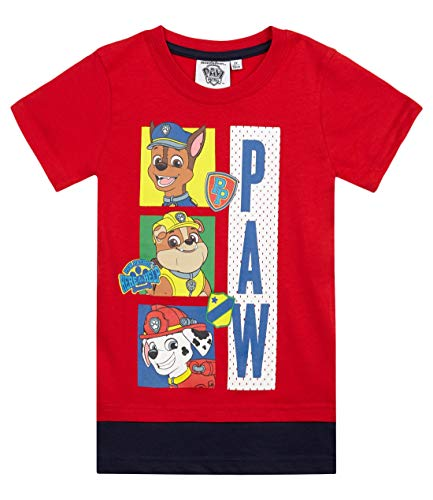 Pat patrouille Jungen T-Shirt 5881, Rouge, 5 Jahre