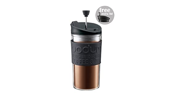 Plastic Transparent Black 8.9/cm BODUM Insulated 11102-01s Piston Cup with Hinged Lid 0.35/Litre