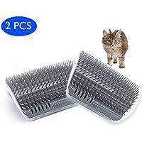 Cepillo autogrietador Cat con Catnip-Wall Montado en la esquina Montado en masajes Peine-Ayuda a prevenir bolas de pelo y controles Shedding-Safe & Comfortable (paquete de 2 cepillos grises)