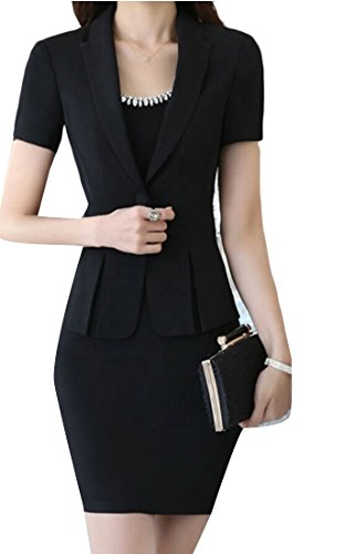 chenshijiu Women's 2 Piece Office Lady Skirt Suit Set Business Dress Blazer and Skirt