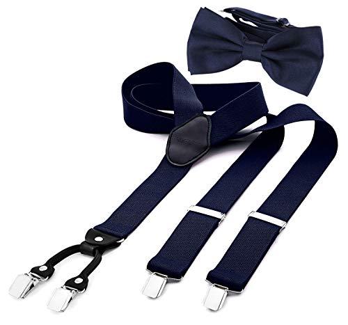 DonDon Herren 3,5 cm breiter Hosenträger in Y-Form elastisch und verstellbar im 2er Set mit farblich passender Fliege 12 x 6 cm Nachtblau