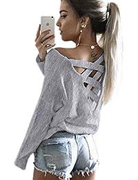 Minetom Femme Printemps Col Rond Manches Longues Shirt Tops Casual Chemisier Sexy Creux V Arrière Blouses Backless T-shirt