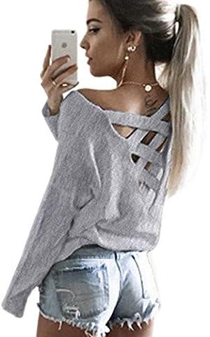 Minetom Damen Frühling Sexy Lange Ärmel Shirts Zurück V-Ausschnitt Kreuz Hohl Langarmshirts Pullover Tops Grau DE (Zurück Pullover)
