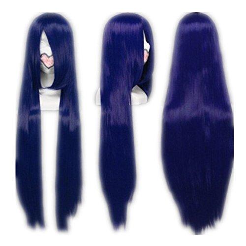 Cosplay Hyuga Hinata Kostüm Shippuden - COSPLAZA Cosplay Wig Kostueme Peruecke Naruto Shippuden Hinata Hyuga Lang Dunkelblau Synthetische Haare