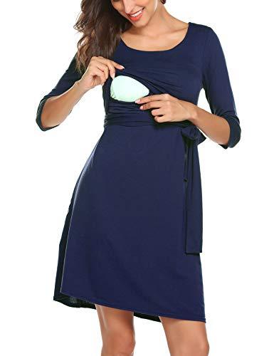 943b53d17 Romanstii Women s Maternity Dress Casual Easy Breastfeeding Dress with  Adjustable Waist Tie (Navy Blue-
