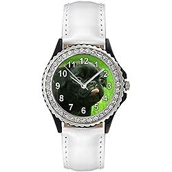 Reloj de cuero color blanco para mujer con piedrecillas y carllino negro