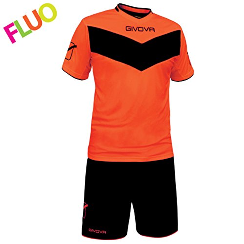 Givova, kit vittoria fluo mc, orange fluo/schwarz, L