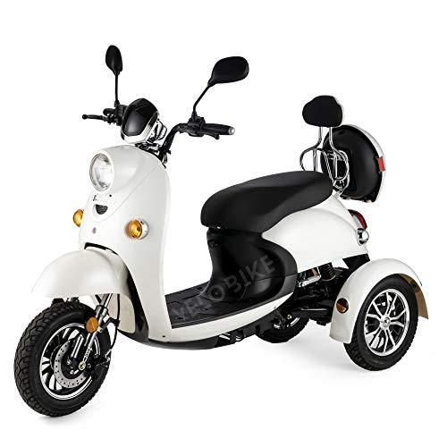 Elegante Scooter elettrico disabili 3 ruote adulti anziani Seniors mobile Telecomando Allarme 650W 25km/h BIANCO