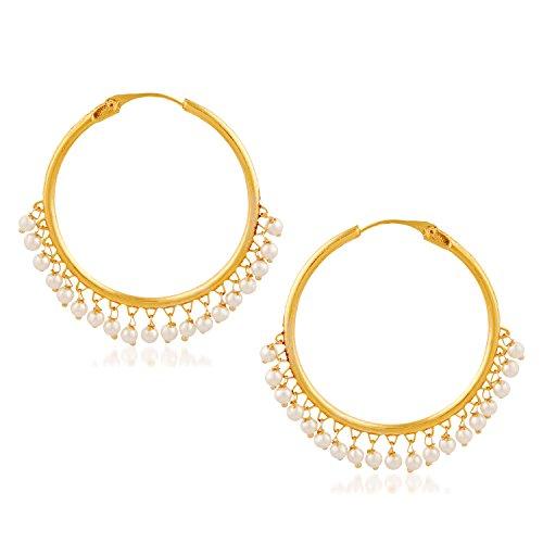 Meenaz Jewellery Traditional Gold Plated Kundan Bali Jhumka / Jhumki Earrings for women-151