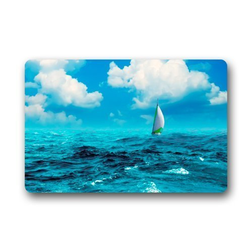 ZHIZIQIU Door Mat Sailing Boat in Ocean Under The Blue Sky Doormat Rug Indoor/Outdoor/Front Door/Bathroom Mats Floor Mat 23.6inch X 15.7inch (7 Rag-rug-5 X)
