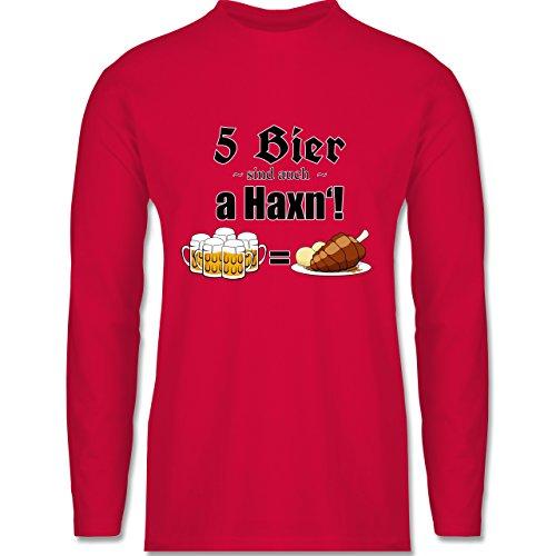 Shirtracer Oktoberfest Herren - 5 Bier Sind Auch a Haxn'! - Herren Langarmshirt Rot