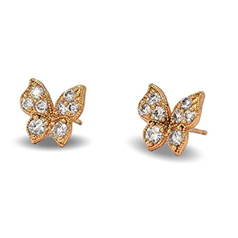 Blue Diamond Club - Gorgeous Small butterfly Shaped Stud Earrings 9ct Rose Gold Filled Womens or
