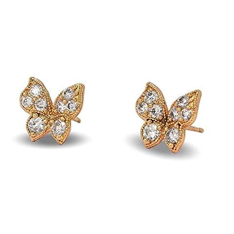 Bleu Diamant Club–Superbe boucles d'oreilles clous en forme de petit papillon en épais plaqué or rose 9carats rempli pour femme ou fille