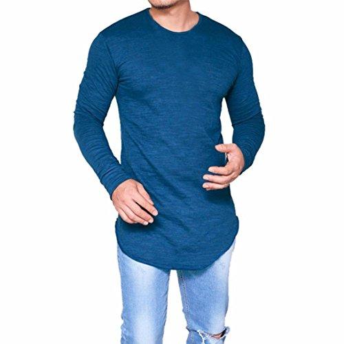 Elecenty Herren Langarmshirt Bluse Lange Rundkragen Slim Fit T-Shirt Männer Pullover Sweatshirts Streetwear Classics Hemden Tops Kompressionsshirt (3XL, Blau) (Plain-kragen-shirt)