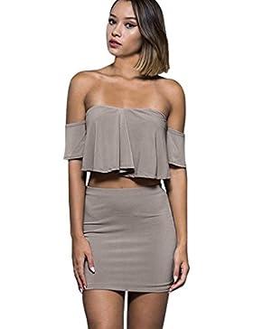 Conjunto de falda superior para mujer Sexy Off Shoulder de dos piezas Clubwear Ruffles