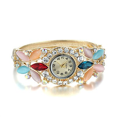 Beautiful Watches , Sjewelry Lady Crystal Opal Watch 24K Gold Plating Bracelet ( Color : Rainbow , Gender : For Lady )