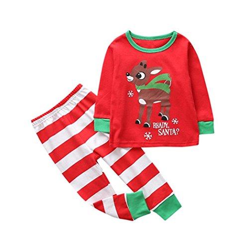 Sonnena, weihnachtliches Set für Kleinkinder und Babys, geeignet für Mädchen und Jungen, Oberteil mit Hose 5T rot (5t-shirt)