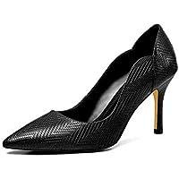 GLTER la Moda de Las Mujeres Señaló Bombas 2019 Primavera Verano Cuero Tacones Altos Cómodos Zapatos de Fiesta,Negro,35