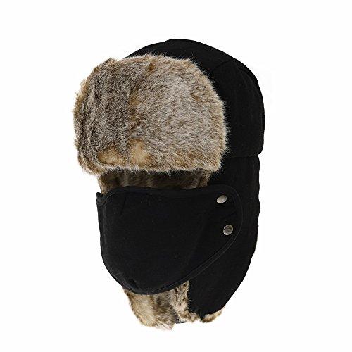 e498d43f WITHMOONS Nieve Sombrero Gorros de Aviador Invierno Cálido Wool Russian Hat  Winter Trapper Cap Faux Fur