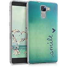 kwmobile Funda para Huawei Honor 7 / Honor 7 Premium - Case para móvil en TPU silicona - Cover trasero Diseño Smile en azul turquesa
