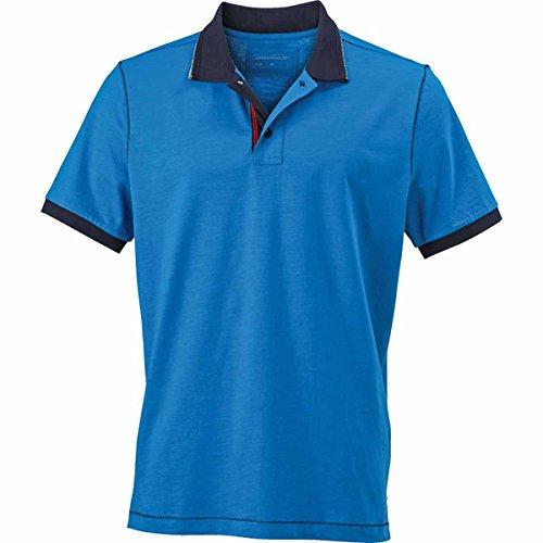 JAMES & NICHOLSON Herren Poloshirt, Einfarbig bleu azur et bleu marine