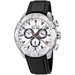 Candino Men's Quartz Watch with White Dial Chronograph Display and Black Leather Strap C4476/1