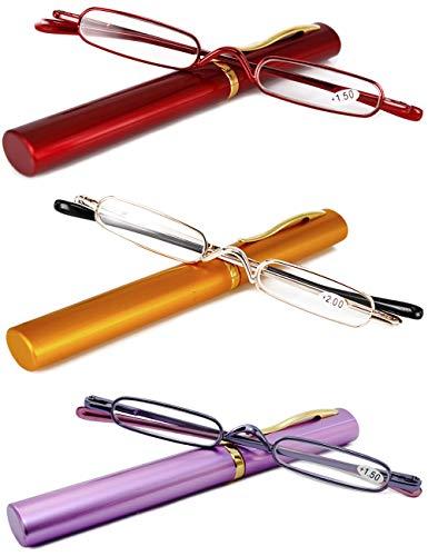 VEVESMUNDO® Lesebrille Damen Herren Federscharnier Metall Schmal Klein Mini Leicht Lesehilfe Sehhilfe Klare Arbeit Brillen Stärke mit Etui (Lesebrillen 3 Stück(Rot+Gelb+Lila), 1.0)