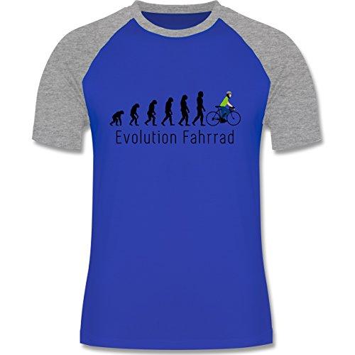 Evolution - Fahrrad Evolution - zweifarbiges Baseballshirt für Männer Royalblau/Grau meliert
