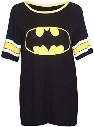 Damen T-Shirt Top Superman Batman Superheld Logo Aufdruck Kurzarm Rundhals Stretch Baseball Lang - Batman, EU 40-42