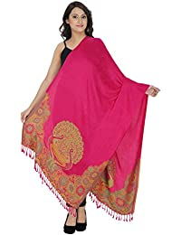Indo Essence – Women's Designer Patch Embroidered Pink Stole