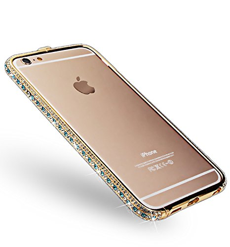 iPhone 6s Hülle, iPhone 6 Hülle, Vandot Handgefertigt Luxus Glitzer Diamant Bling Aluminium Bumper für iPhone 6 6s Schutzhülle Metall Rahmen Stoßdämpfung Kratzfeste Innerhalb PC Hart Handmade Frame Ha Gold Grün