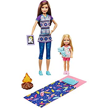 Barbie Sisters C&ing Fun 2 doll set Skipper and Chelsesa pack  sc 1 st  Amazon UK & BARBIE Sisters Camp Out Gift Set includes Tent Barbie Skipper ...