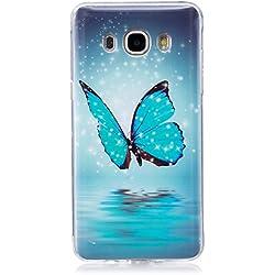 ISAKEN Compatibile con Samsung Galaxy J5 2016 Custodia, Agganciabile Luminosa Caso con Lampeggiante Ultra Sottile Morbido TPU Cover Rigida Gel Silicone Protettivo Custodia - Glitter Farfalle