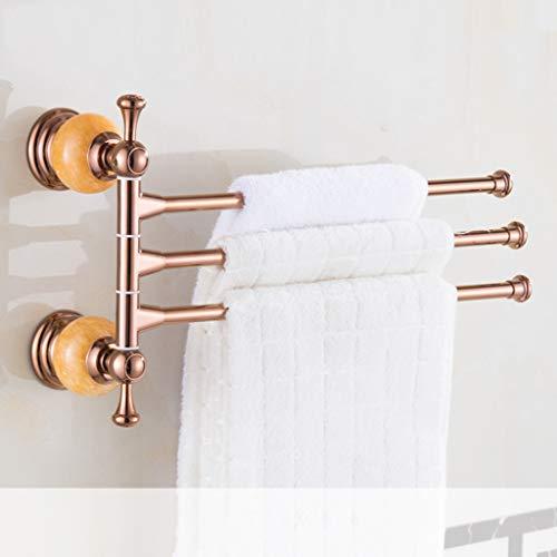 Europäischen Stil Rotierenden Handtuchhalter Bad Einstellung Kristall Handtuchhalter Handtuch Handtuch Hängen Stange (Rose Gold) (Color : A Five RODS)