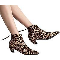 Geili Damen Stiefeletten Leopard Muster Wildleder Spitz Stiefel mit Absatz Block Mitte Ferse Kurze Stiefel Frauen... preisvergleich bei billige-tabletten.eu