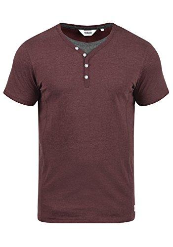 !Solid Dorian Herren T-Shirt Kurzarm Shirt mit Grandad-Kragen, Größe:M, Farbe:Wine Red Melange (8985)