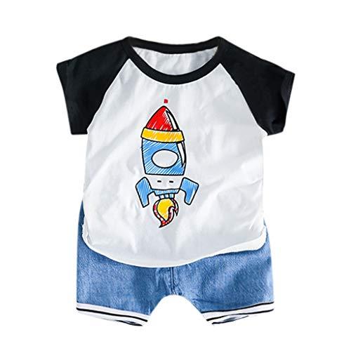 Yazidan Kleinkind Baby Kinder Jungen Rocket Tops T-Shirt Streifen Kurze Hosen Lässige Outfits Kurzärmeliges Cartoon Rocket T-Shirt für Kinder + Gestreifte Shorts Zweiteiliger Satz