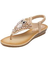 Minetom Donna Ragazze Estate Casuale Pantofole Boemia Fiori Strass in Rilievo Infradito Flip Flops Antiscivolo Clip Toe Sandali Scarpe Piatto Nero EU 36 nBrE2j0