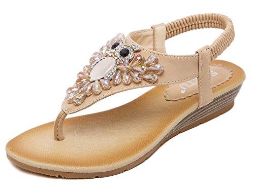 Minetom Damen Sommer Niedliche Strass Eule Dekoration Thong Sandalen Flache Clip Toe Flip Flops Strand Schuhe Aprikose