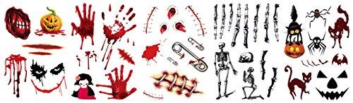 AMDXD Halloween Narben Kürbis Spinne Skelett Halloween Kostüm Schwarz Katze Blut Hand Halloween Wunden Set Tattoos Aufkleber
