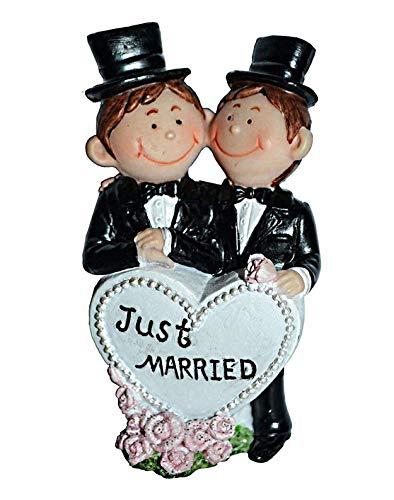 cake topper für Hochzeit homosexuell, handbemalt, Tortenaufsatz für Hochzeitstorte, Männer, Mr & Mr, 9cm