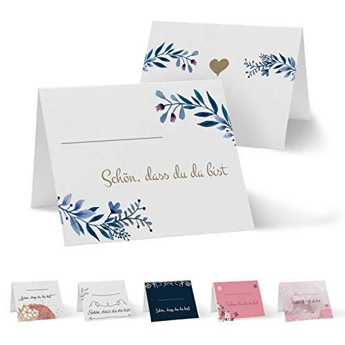 Partycards 50 Tischkarten/Platzkarten DIN A7 für Hochzeit, Geburtstag, Kommunion, Taufe (DIN A7, Blätter Blau)