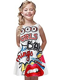 Luckycat Ropa Bebe Niña Verano 2019 Ropa Bebe Niña Vestido Bebe Ceremonia Vestido sin Mangas Impresión de Dibujos Animados en 3D Animados Vestidos 4-8 años