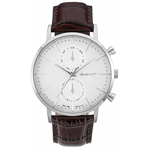 Gant Park Hill Day-Date Men's Quartz Watch with White Dial Analogue Display and Brown Leather Strap W11201
