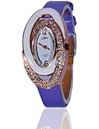 Fusine™ Amni Fashion Double Stone Studded 3D Leather Watch For Women (Oval) Party Wear (Purple)