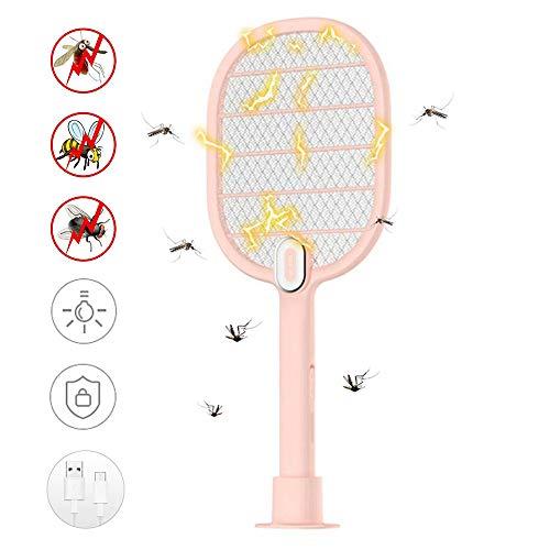 lesgos Raquette Bug Zapper, Moustique Killer Rechargeable USB, Tueur d'Insectes électrique Portable pour tapette à Mouche avec Filet de sécurité et lumière LED pour Le Camping extérieur en intérieur