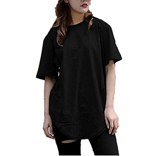 WOCACHI Damen Bluse Frauen Straße Mode Hülsen T-Shirt Loch reine Farben hübsche Blusen Tops Streetwear Black