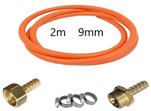 GASSCHLAUCH SET 2 METER + NIPPEL 9mm BRASS IG + NIPPEL 9mm BRASS AG + 2 X SCHRAUBTASTE 8-12mm